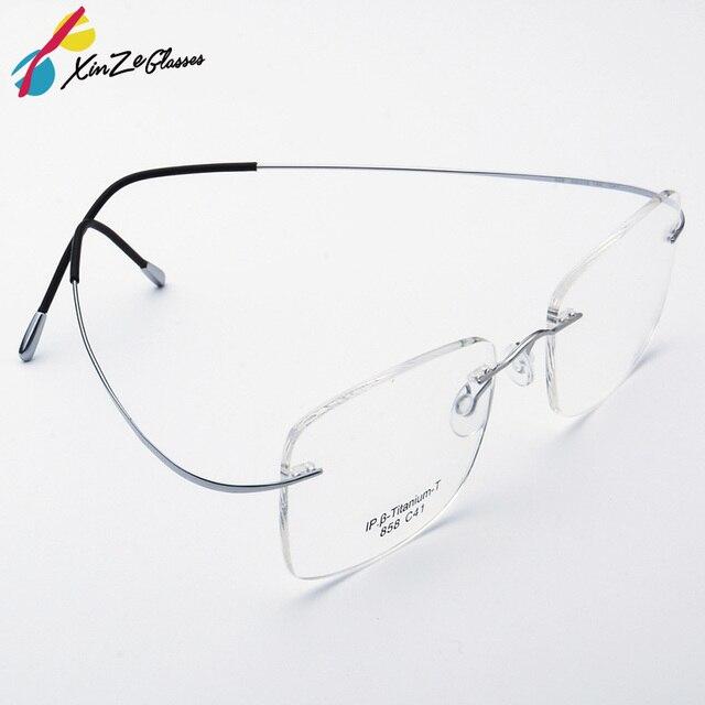 c89a5603aa53bc Pure Titanium Brillen Randloze flexibele Optische Frame Recept Spektakel  Frameloze Bril bril 010 Lijn Tempel