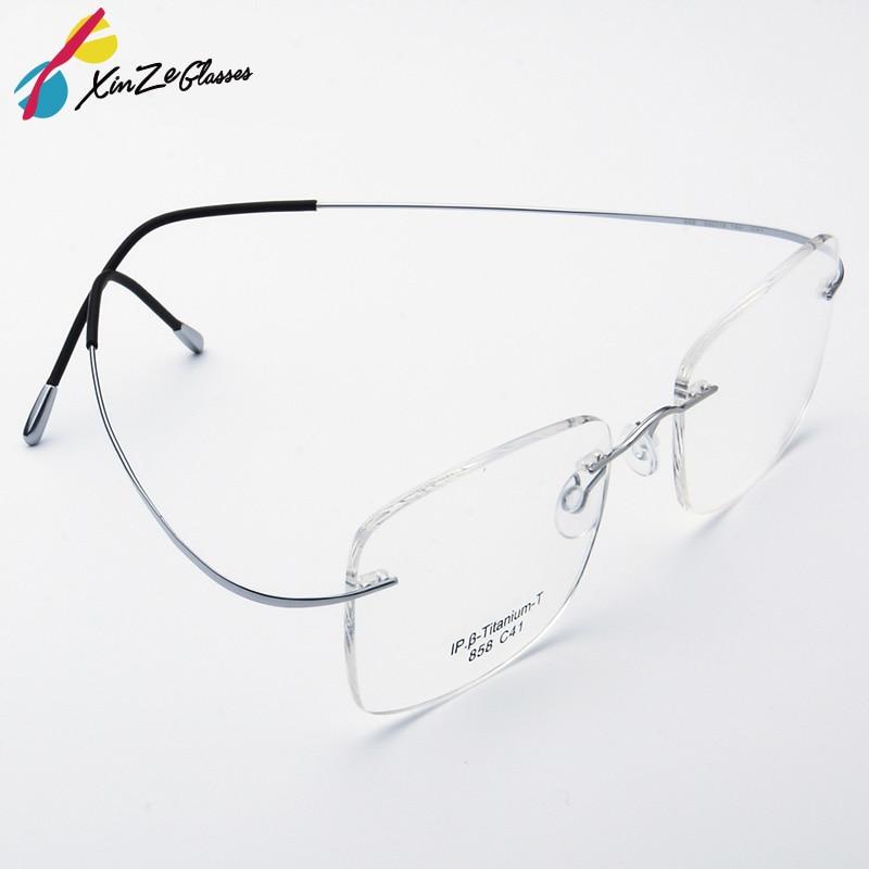 Čista titanijeva očala Rimless prilagodljiv optični okvir na recept Očala Brez okvirja Očala Očala 010 Line Temple
