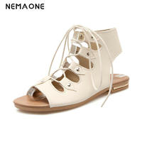 2017 Summer Fashion Sandals Soft Rome Style Comfortable Open Toe Lace Up Mother Shoes Flat Sandals