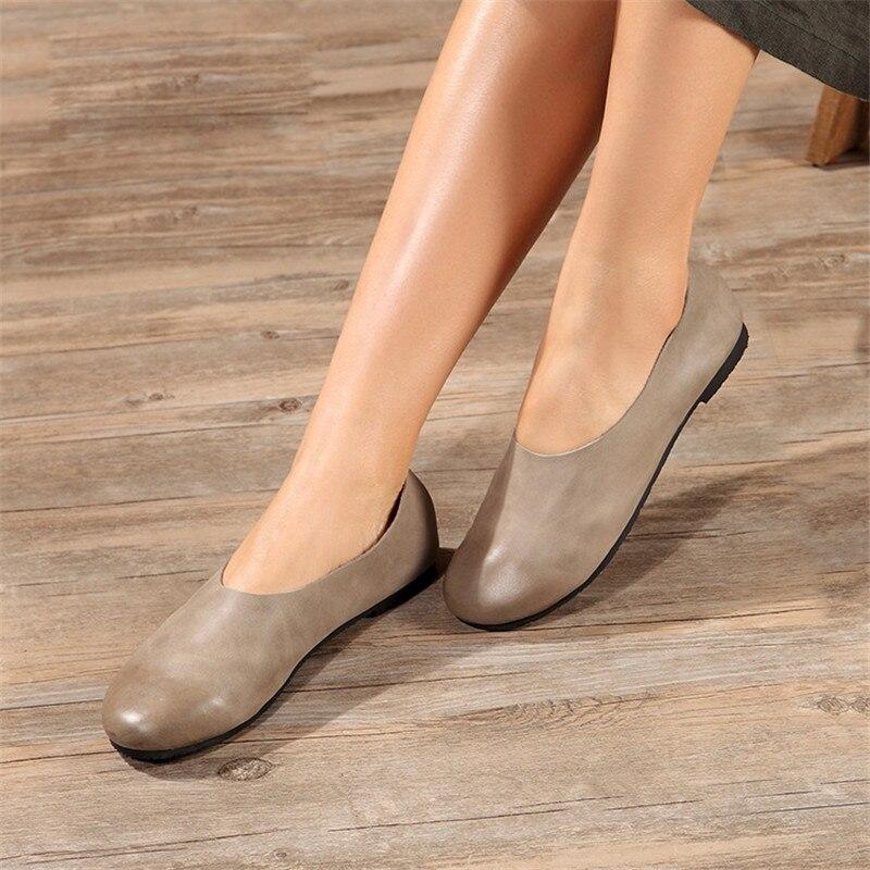 Nouveau 100% en cuir véritable femmes chaussures plates bout rond doux mocassins dames gris femme enceinte chaussures plates 3 couleurs taille 41