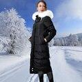 De las mujeres del invierno Largo de down parka Señora Cuello de Piel parka de Invierno de La Muchacha fur capucha parka Negro Gris Abrigo de Invierno con capucha de piel parka