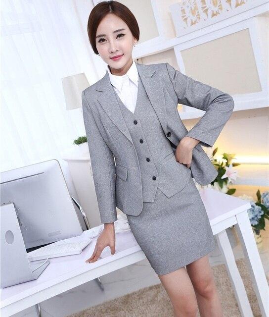 fbd33e66d1 Formal uniforme estilos profesional negocios trajes chaquetas y falda  Oficina damas Blazers conjuntos Otoño Invierno gris