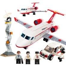 8911 GUDI City Airport VIP Private Jet Plane Model Building Blocks Classic Enlighten Figure Toys For Children Christmas Gift