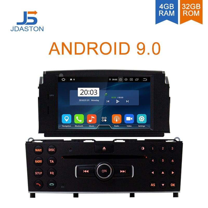 JDASTON Android 9.0 lecteur DVD de voiture pour Mercedes Benz C200 C180 W204 2007-2010 multimédia GPS stéréo 1Din Radio 4G + 32G Octa cœurs
