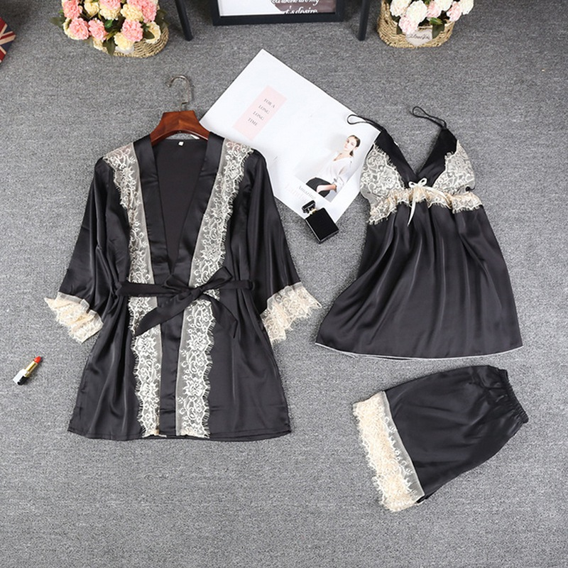 Sleepwear Women Lingerie Women Sexy Lace Trim Satin Patchwork Cami And Shorts And Robe Pajama Set
