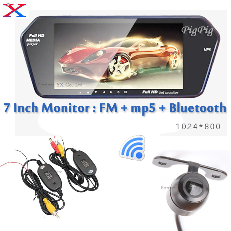 Nouveau 7 pouces bluetooth pour caméra de recul LCD voiture miroir moniteur MP5 MP4 moniteur de recul pour TF/USB FM transimitter