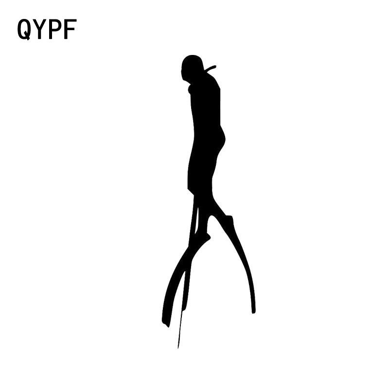 QYPF 4.8cm*15cm Creative Diving Vinyl Decal Funny Car Stickers Window Black Silver S2-0520