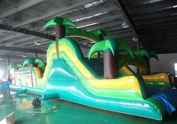 Pista de obstáculos inflable en tobogán inflable para niños y adultos