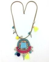 New Boho Bohemia Handmade Tauren Tassel Pendants Necklace Aqua Stone Pendants Leather Cord Necklace Summer Sea