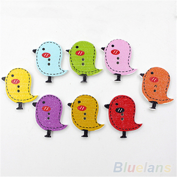 50pcs/set Lovely Cartoon Animal 2 Holes Wooden Buttons Sewing Craft Scrapbooking DIY Pating Wood Button image