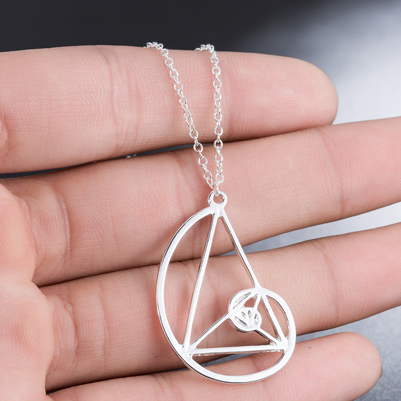 Yiustar New Color <font><b>Spiral</b></font> Triangle Necklace for Women <font><b>Fibonacci</b></font> Pendant Ratio Psychology Choker Science Biology Jewelry image