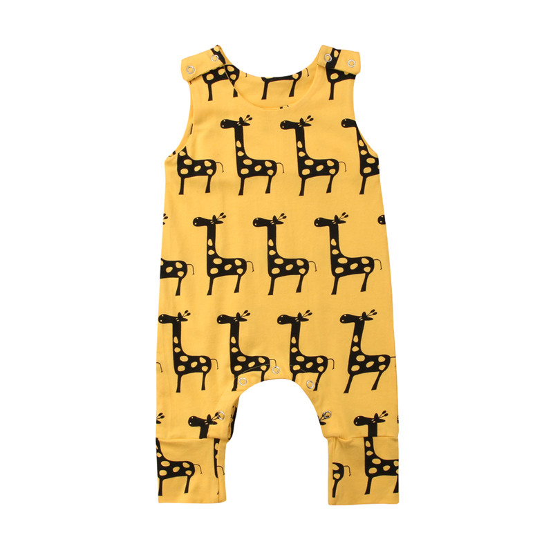 Brand New Cartoon Giraffe Newborn Baby Boy Girl Cotton   Romper   Jumpsuit Outfits Clothes 0-24M