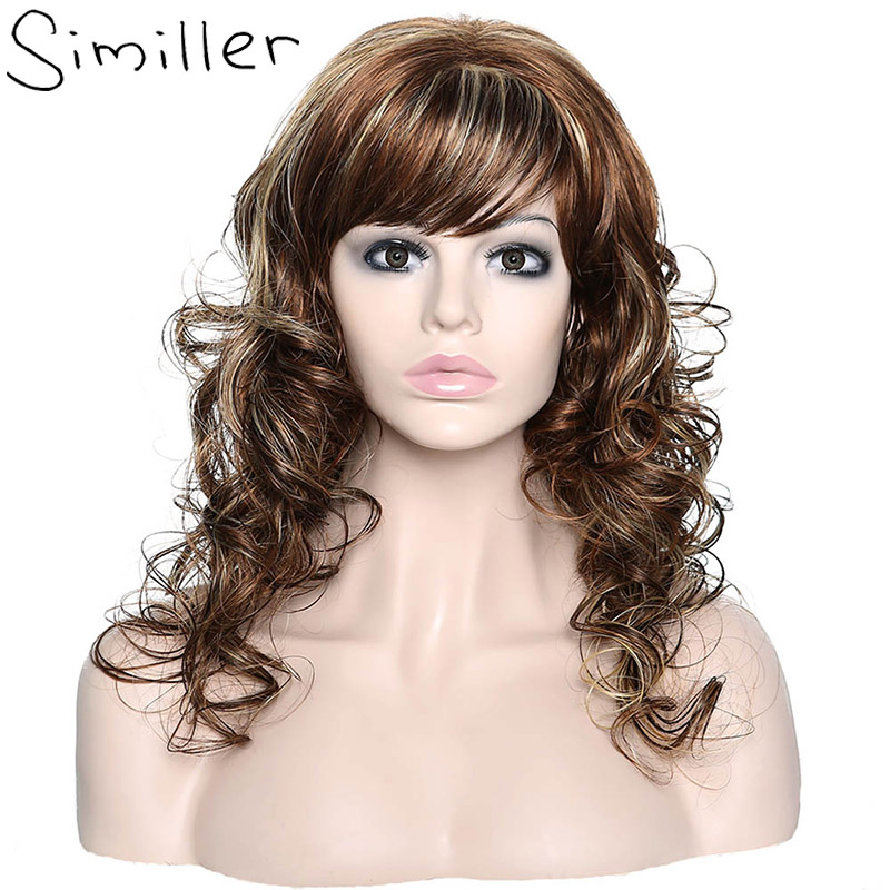 Similler Long Ombre Hair For Women Dark Roots Body Wave Heat Resistant Cosplay Synthetic Wigs With