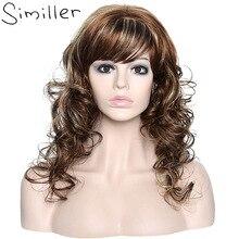 Similler Длинные Ombre Волос Для Женщин Темные Корни Объемная Волна Жаропрочных Косплей Синтетические Парики С Бесплатным Haircap