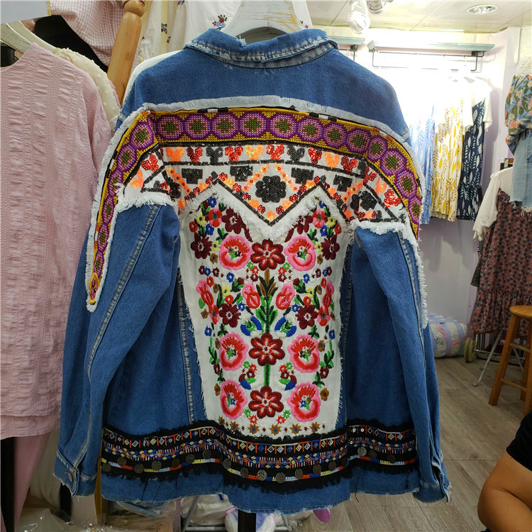 European Style Denim Jacket Coat 2018 Spring Autumn New Women's National Style Embroidery Back Double Pocket Loose Jeans Jackets