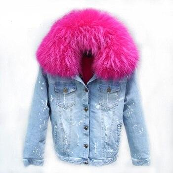 Real demin piel gruesa chaquetas abrigo Parka 2018 mujeres invierno suave cálido PV chaqueta interior agujeros blancos manga larga abrigo mujer abrigo