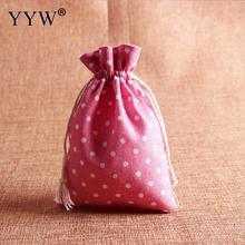 YYW 2017 Pink  Jewelry Bags Lovely Pouches Cotton Fabric Bags Christmas Gift Bags Candy Jewelry Packaging Organza Bags Pouches