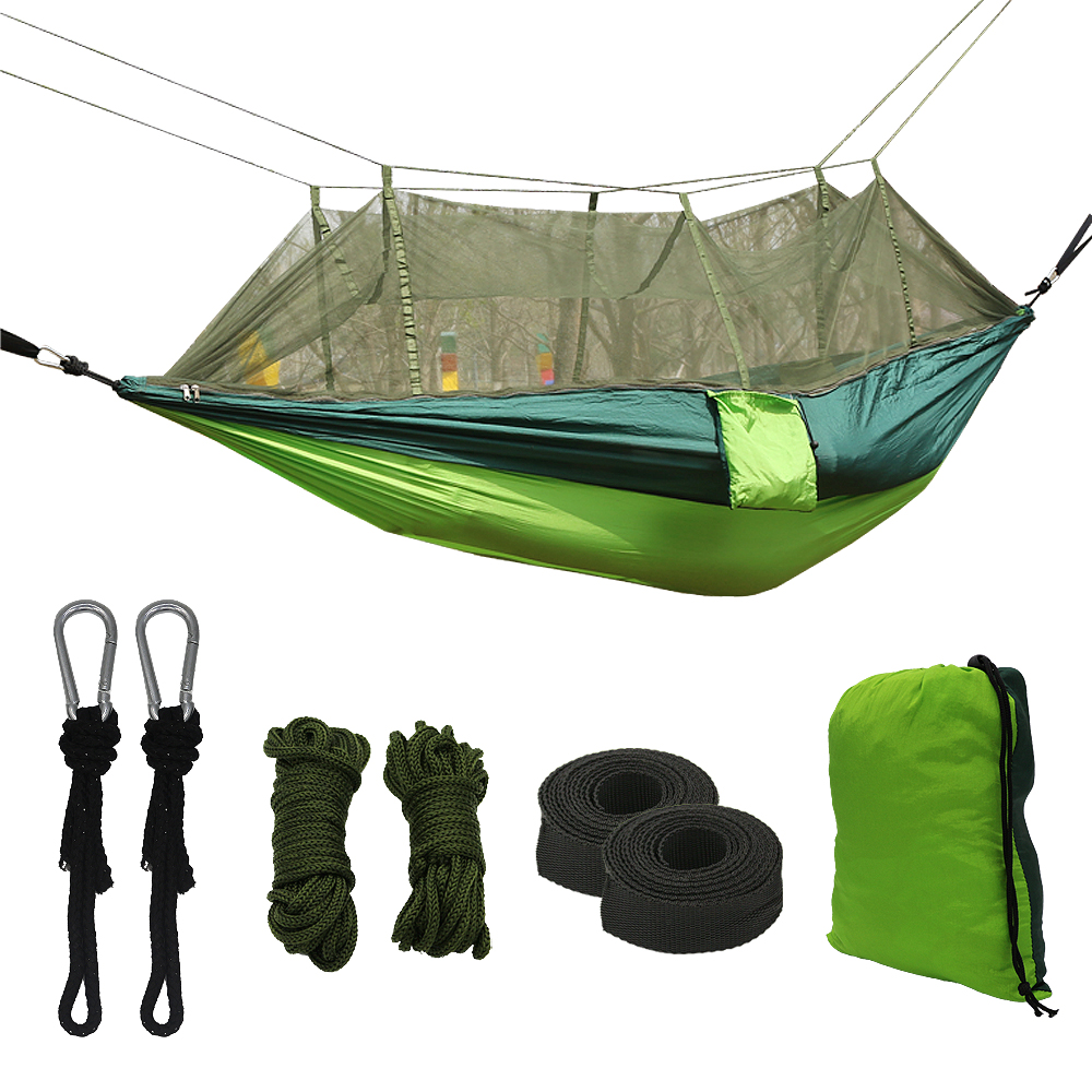 Camping Hammock with Mosquito Net - Lightweight Portable Double Parachute Hammocks - Made of 210T Nylon High Capacity