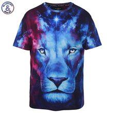 2017 Mr.1991INC Very Nice Stylish 3d T-shirt Men/Women Brand T-shirt Print Blue Face Lion Space Galaxy Tshirt Summer Tops Tees