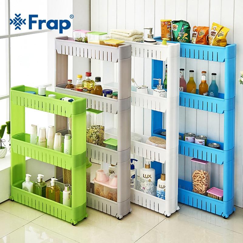 Frap Mehrzweck Regal mit Abnehmbaren Rädern Riss Rack Bad Lagerung Lagerung Rack Regal Multi-schicht Kühlschrank Seite Regal