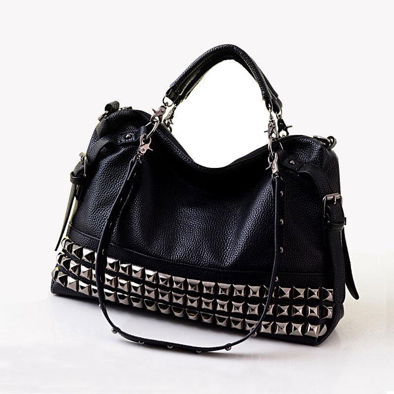Kniedės moterų natūralios odinės mados rankinės motociklų maišelio kniedės visos krepšys vienas peties kryžiaus kūno didelis maišas A4