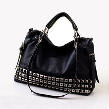 Rivet women's genuine leather fashion handbag motorcycle bag rivet all-match handbag one shoulder cross-body big bag  A4