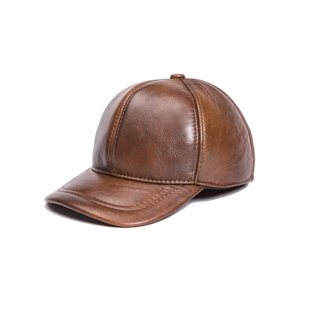 Prix pour Mâle véritable chapeau de cuir de vache casquette de baseball Grand réglable oreille hommes les personnes âgées épais