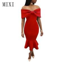 MIXI Vestidos 2019 Elegant Party Dress Women Blue Red Black Bow Cape Off Shoulder Mermaid Vintage Ruffles Bodycon Dresses