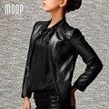 Más el tamaño Negro genuino abrigo de cuero chaqueta de la motocicleta corto delgado top de las mujeres de piel de Cordero de cuero real en cuir veste femme LT785