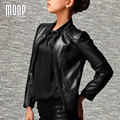 Plus size Black genuine leather coat slim short real leather top women Lambskin motorcycle jacket  veste en cuir femme LT785