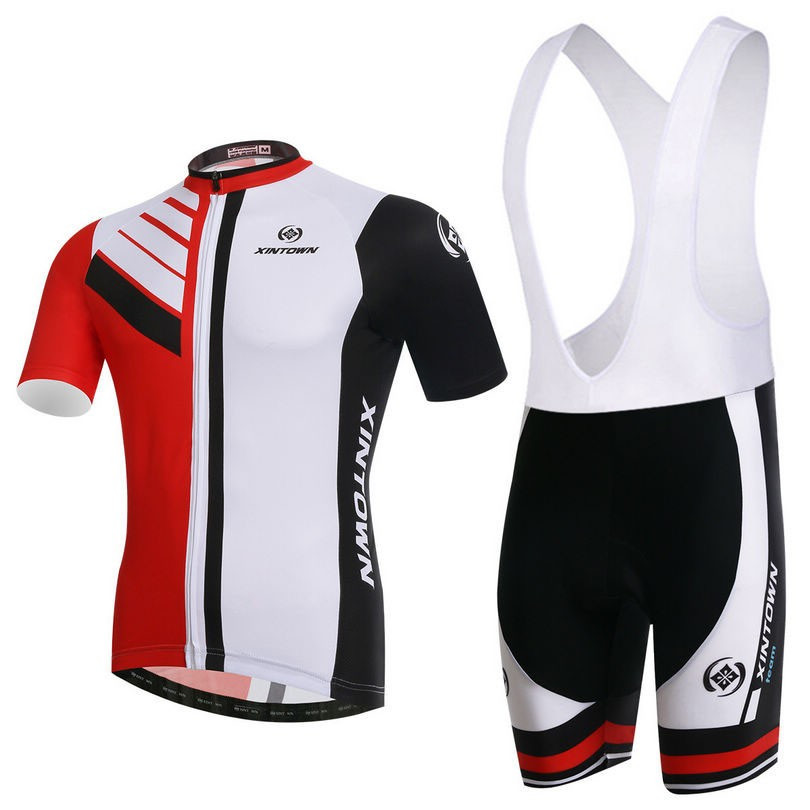 2f3723a66 2016 XINTOWN New Cycling Jersey Bib Sets Red White Bicycle Top Men Bike Bib Clothing  Suits Cycling Wear Shirts mtb Clothes