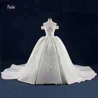 Cap Sleeves Tulle Ball Gown Beading Pearls Lace Applique Sweep Train Formal Wedding Dresses Custom Made