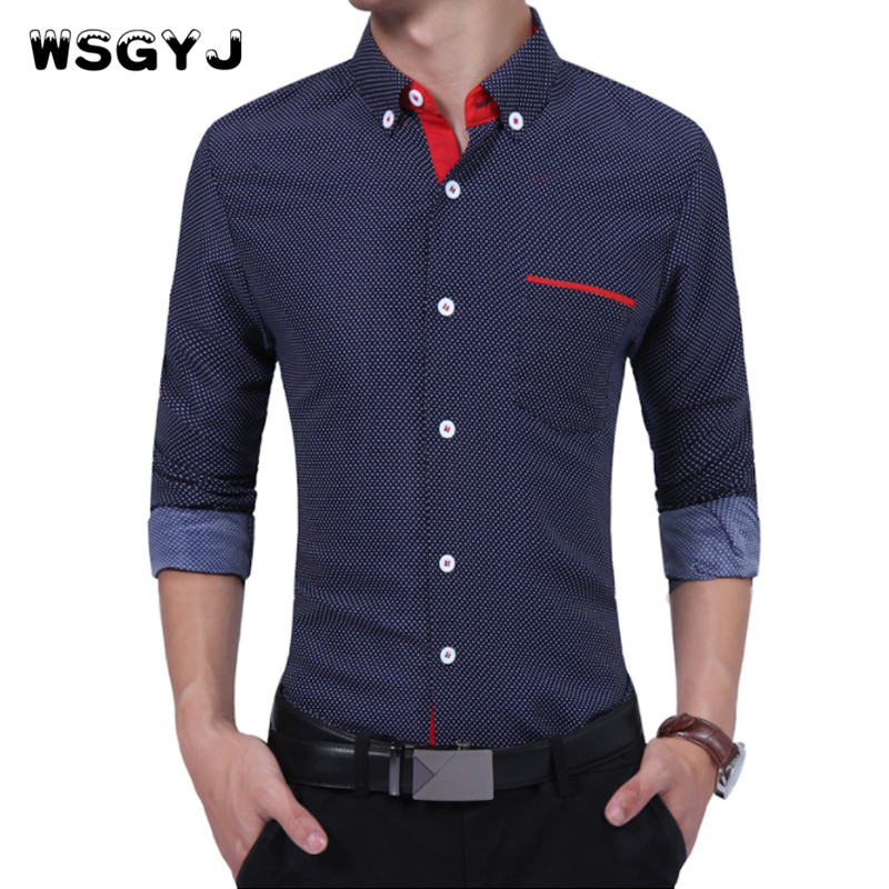 WSGYJ Brand 2018 Fashion Male Shirt Long-Sleeves High Quality Cotton Dots Polka Oversize Mens Dress Shirts Slim Men Shirt 4XL