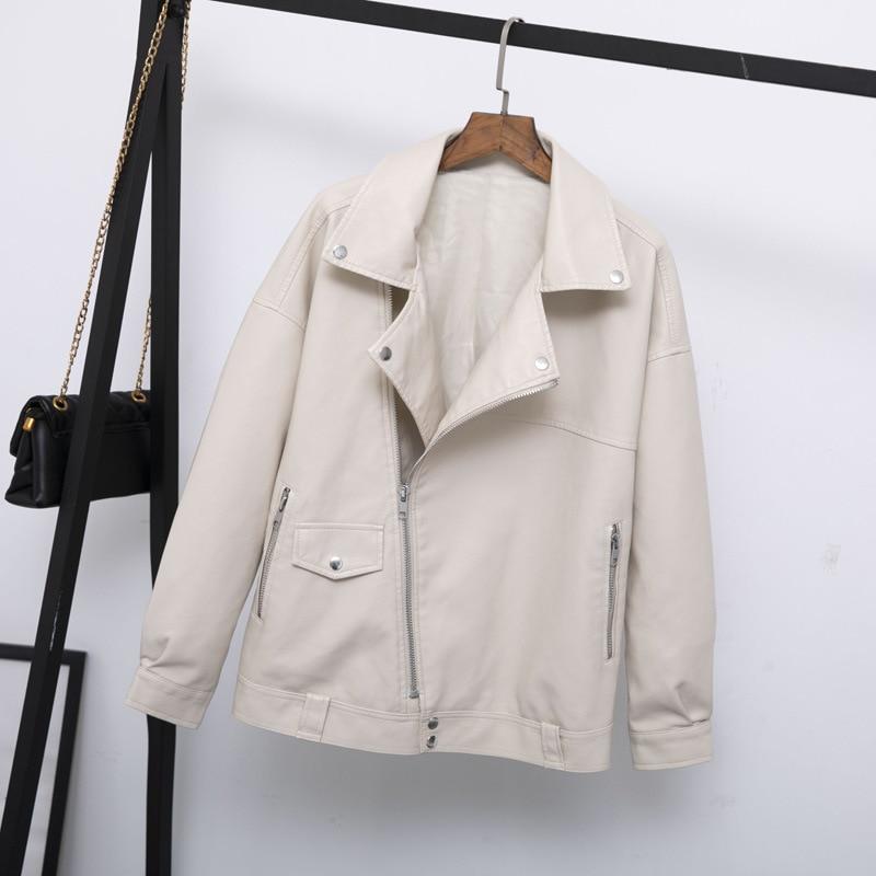 Guilantu Faux Pu Leather Jacket For Women Casual Plus Size Loose Outwear Motorcycle Biker Punk Streetwear Jackets Coat Female
