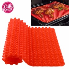 Red Pyramid Pan 40.5cm*29cm Nonstick Silicone Baking Mat Mould Cooking Mat Oven Baking Tray 1pc Hot Sale