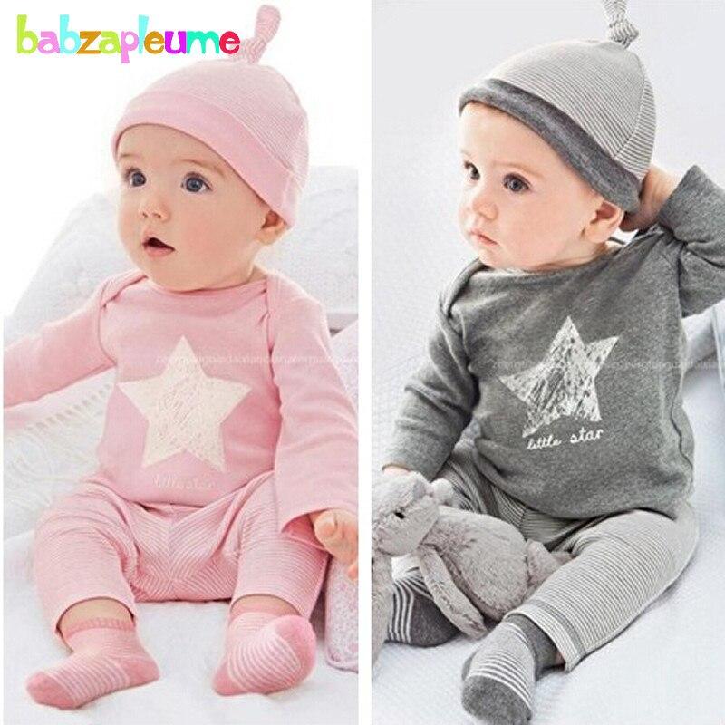 3 шт./0-18Months/весна осень комплект одежды для маленьких мальчиков и девочек в полоску Красная футболка + брюки + шляпа новорожденных спортивные... ...