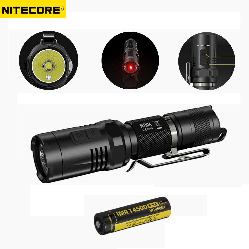 Nitecore MT10A Tactical Flashlight CREE XM-L2 U2 920 Lumen Led Flashlight+Nitecore IMR 14500 Rechargeable Battery+Power Charger nitecore mt10a tactical flashlight edc cree xm l2 u2 920 lumens led mini torch with red white light by 14500 aa battery