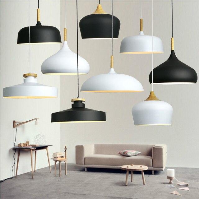 Modern Ceiling Lamps Minimalism Wood Art Black White Aluminium E27 Italian Pendant Lights House Dining Room Decoration Lighting