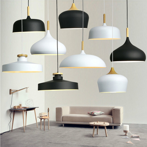 Image 1 - Modern hanging ceiling lamps  Wood aluminium E27 italian Pendant lights, House dining room decoration lighting