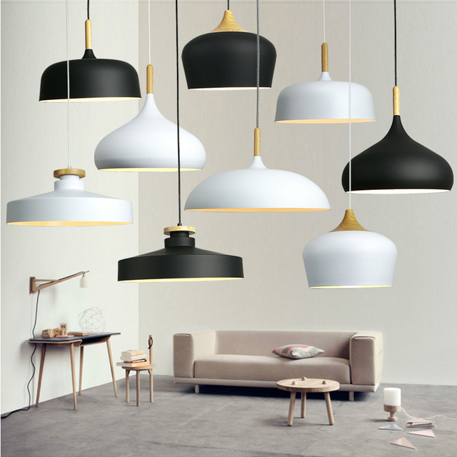 Modern hanging ceiling lamps  Wood aluminium E27 italian Pendant lights, House dining room decoration lighting