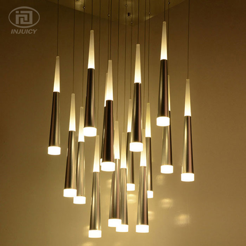 Acrylic Cone Meteor Shower Pendant Lamp Decorative Lighting Cafe Bar Hotel Dining Room Store Villa Luxury Ceiling Lamp