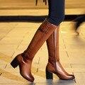 Envío gratis sobre la rodilla completo verdadero natrual cuero genuino del alto talón mujeres nieve zapatos de la bota caliente P1543 EUR tamaño grande 33-43