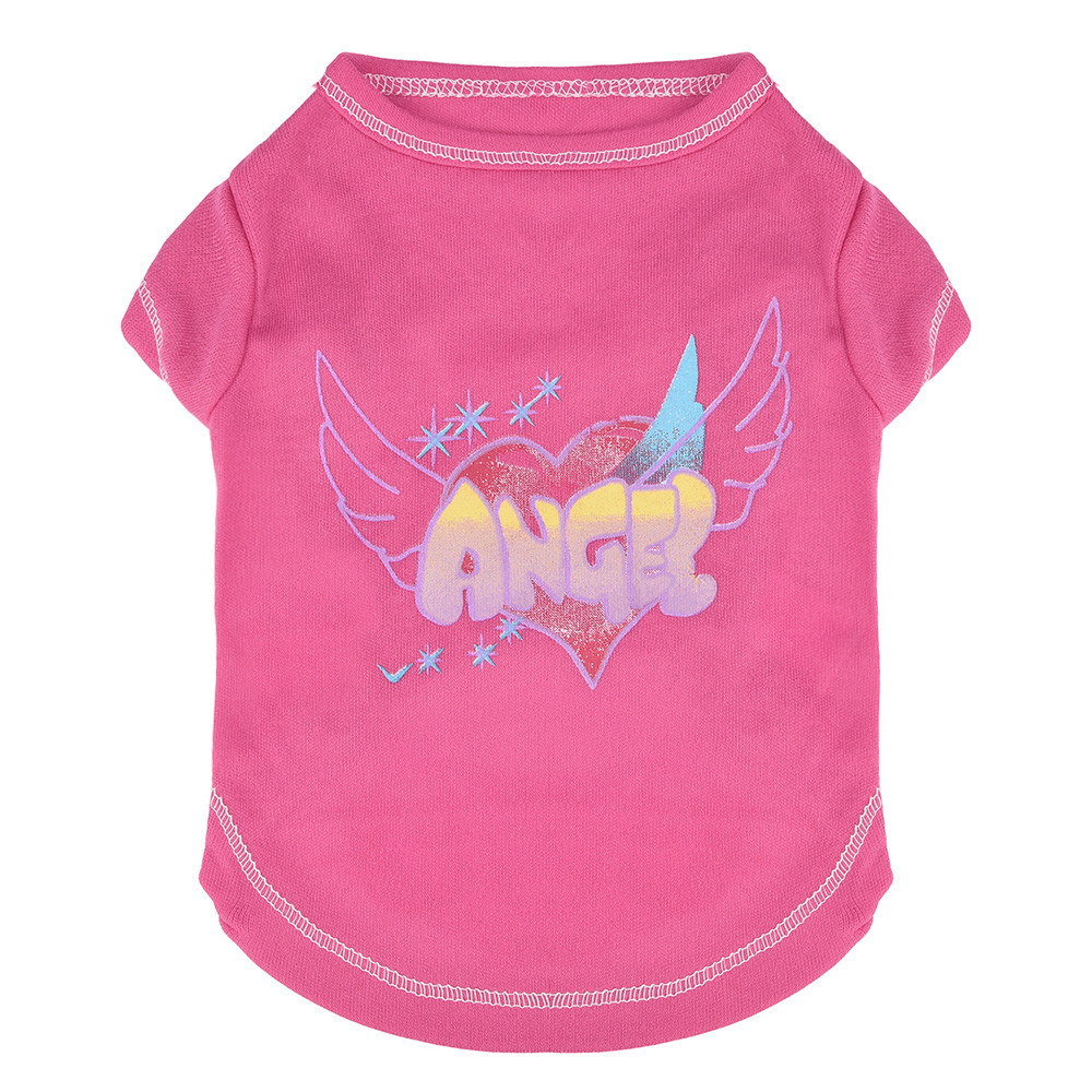 Small Dogs Clothes For Dogs Small Pet Dog Clothes Fashion Cat T-Shirt Apparel Spring Lovely Pink Angel