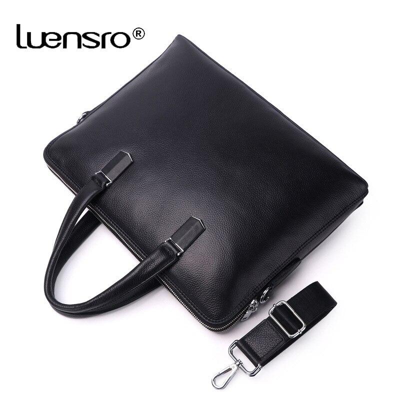 100% prawdziwa skóra bydlęca 14 ''teczki na laptopa mężczyźni Messenger torby męskie Crossbody torby na ramię walizka biznesowa warstwa skórzana torba w Teczki od Bagaże i torby na  Grupa 3