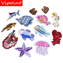 embroidery sea animal patches for jackets,fish badges for jeans,crab appliques,patch A425 embroidery round birds patches for jackets fish badges for jeans appliques a133