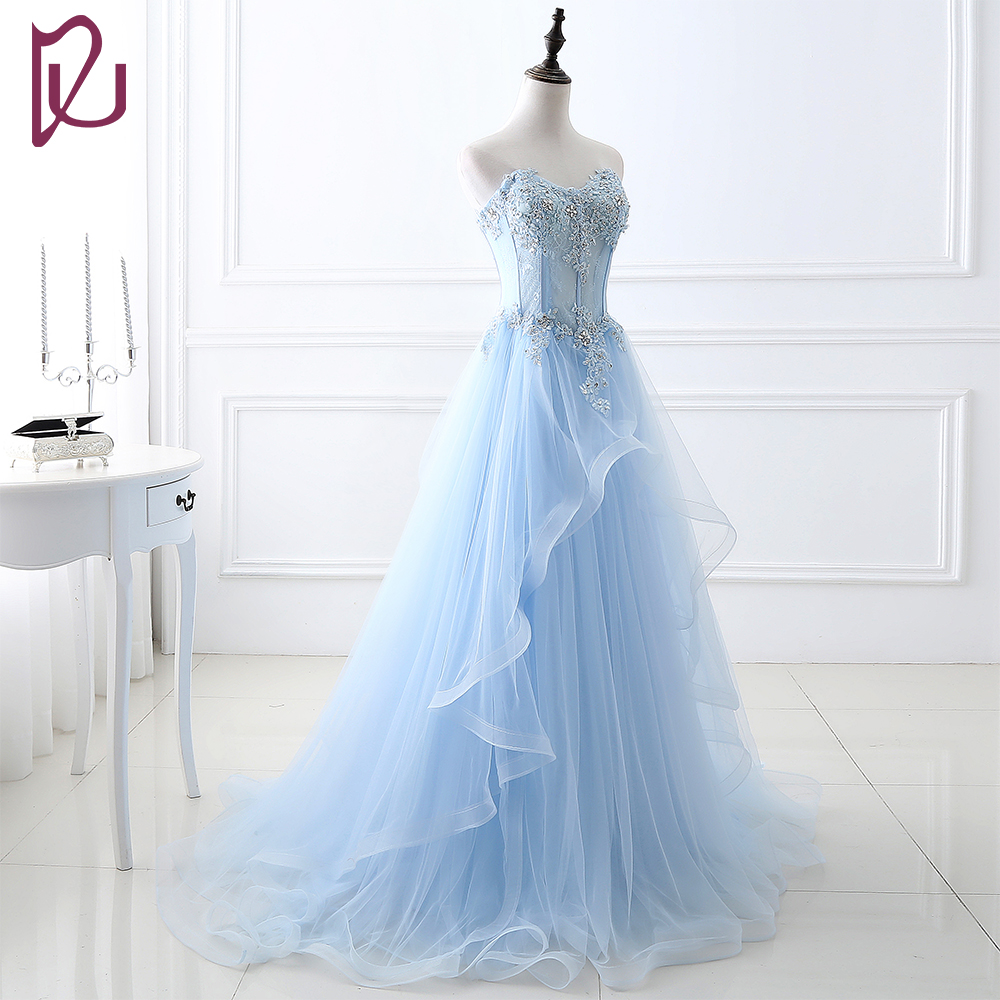2017 New Bride Wedding Dresses Blue Elegant Strapless Gowns Fairy ...