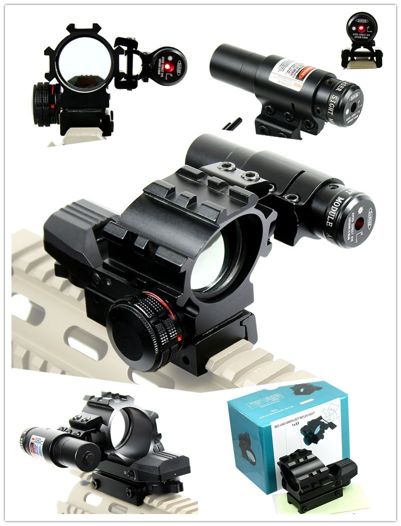 Airsoft Holographic Tactical Red / Green 4 Reticles Reflex Dot Scope & Laser Sight Combo Hunting Free Shipping