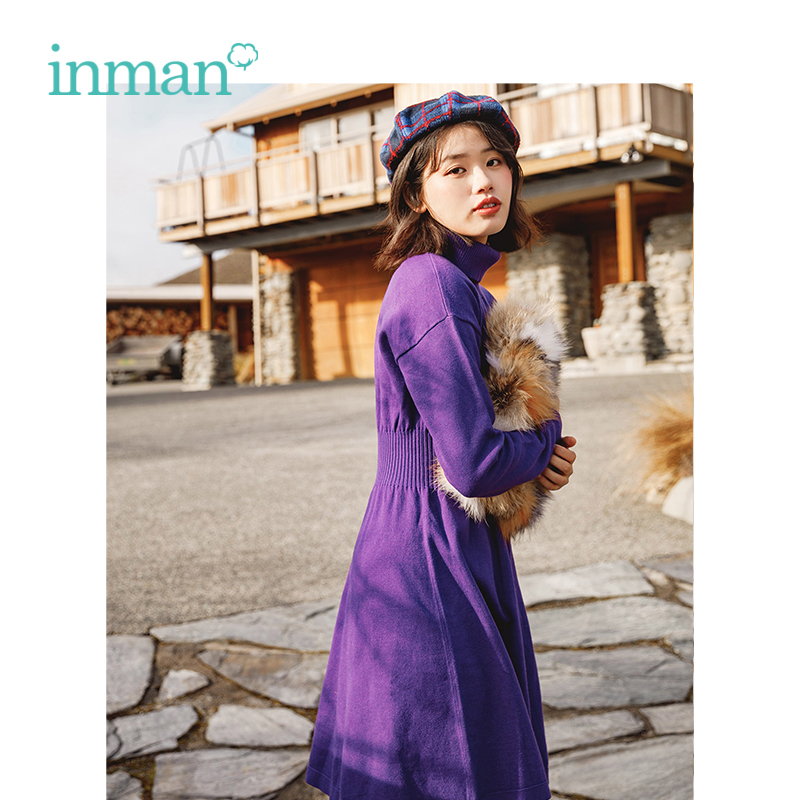 INMAN Winter New Arrival Female Princess Style Off The Shoulder Waist Slim Wool Dress