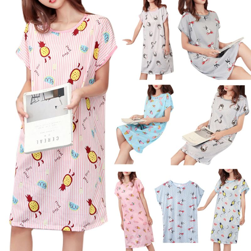 Women Girls Summer Short Batwing Sleeve   Sleepshirt   Cartoon Rabbit Ice Cream Vertical Stripes Printed Milk Fiber Nightdress Overs