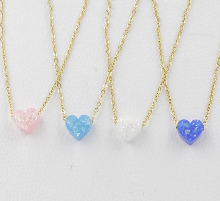 Fashion Blue White Crystal Resin Opal Hamsa Hand Invisible Fishing Line Necklace Fatima Pendant Necklace For Women Girl Jewelry